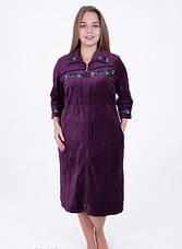Велюровый женский халат Цветочная вышивка, фото 3