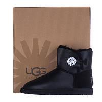 Угги женские кожаные UGG AUSTRALIA 1003889 W/BLK-G черные