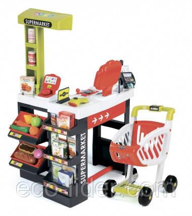 Інтерактивний супермаркет з візком, продуктами та аксесуарами., Червоний, 3+