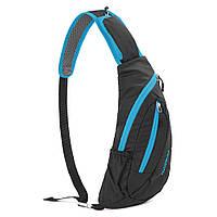 Нагрудная сумка-рюкзак NatureHike чёрный-голубой NH23X008-K