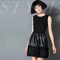 Черное платье-сарафан сзади на металлической змейке . Арт-8904/75