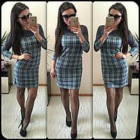 Стильное серое платье в клетку из тонкой стрейч-шерсти . Арт-8905/75