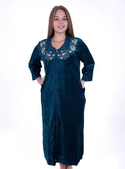 Велюровый женский халат Цветочный венок