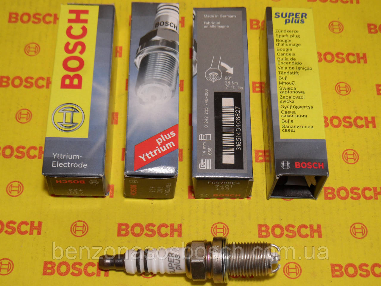 Свечи зажигания BOSCH, FGR7DQE+, +23, 1.6, Super +, 0242235748, 0242235748,