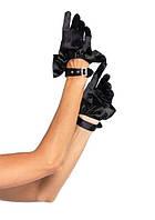 Атласные перчатки с рюшами на ремешке