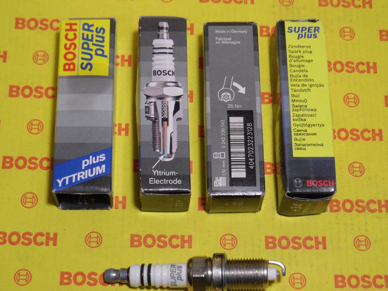 Свічки запалювання BOSCH, FR7LCX+, +32, 1.1, Super +, 0242236542, 0 242 236 542,