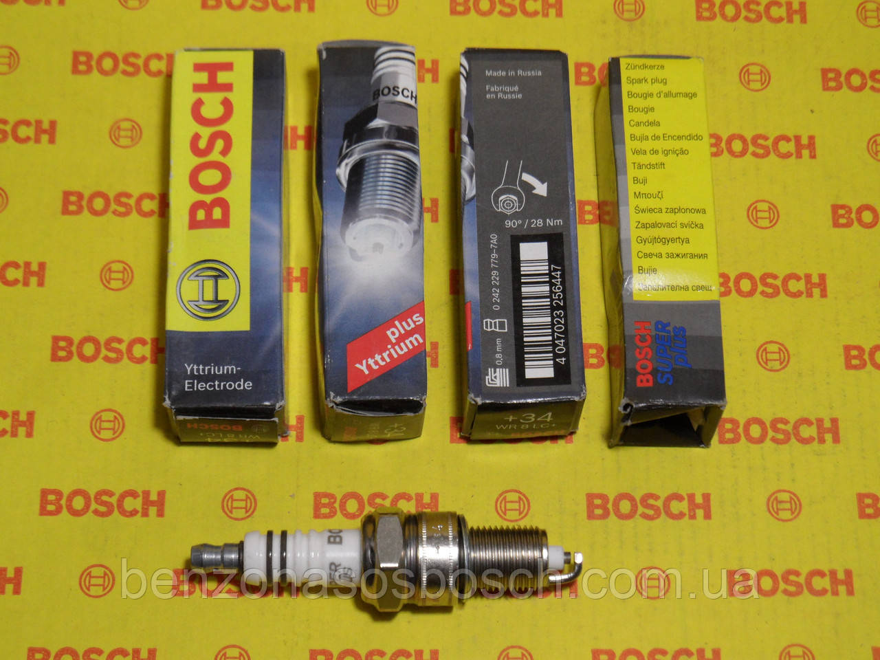Свечи зажигания BOSCH, WR8LC+, +34, 0.8, Super +, 0242229779, 0 242 229 779,