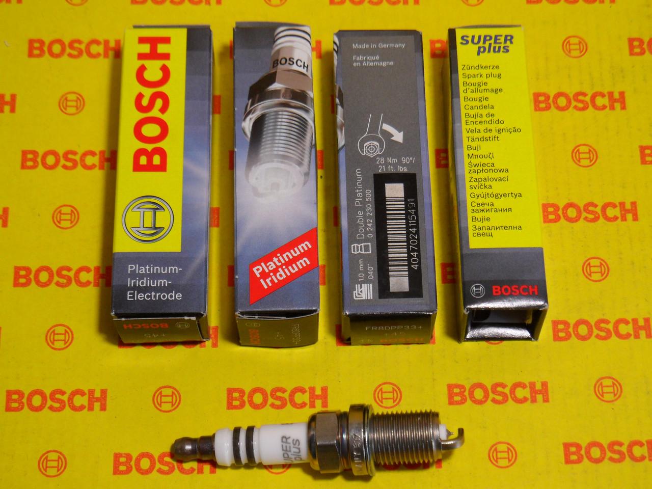 Свечи зажигания BOSCH, FR8DPP33+, +45, 1.0, Super +, 0242230500, 0 242 230 500,