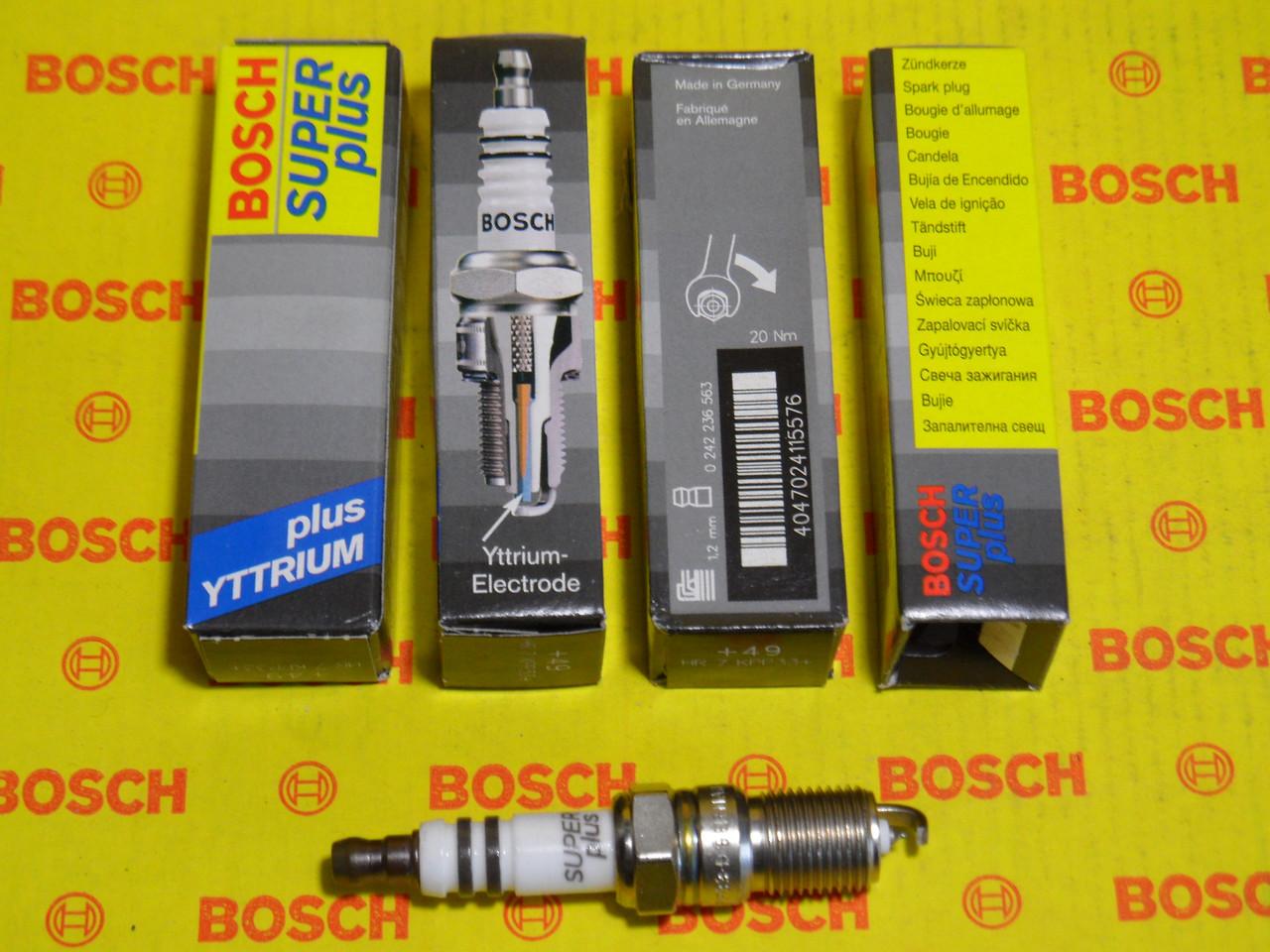 Свічки запалювання BOSCH, HR7KPP33+, +49, 1.2, Super +, 0242236563, 0 242 236 563,