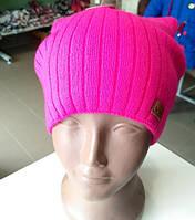Вязаная шапка Viva с ушками розовая