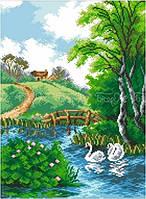 Схема для вышивки бисером Лебеди на пруду