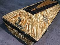 Гроб - драпировка атлас + ручки (золото)