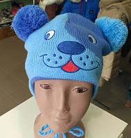 Детская шапка на мальчика с завязками