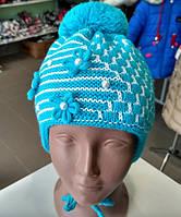 Детская шапка на девочку с завязками