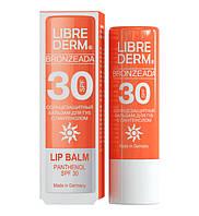 LIBREDERM Bronzeada бальзам для губ с пантенолом солнцезащитный SPF 30, 4 г