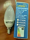 Лампа LED светодиодная  7.5W 600Lm 2700К,4500К,6500К  Е14 свеча LM384, фото 4