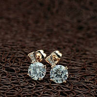 Сережки гвоздики маленькие кристаллы Stellux позолота