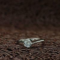 """Кольцо женское на помолвку """"Бэлла"""" покрытие белое золото"""