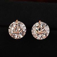 Сережки гвоздики маленькие с кристаллами Сваровски позолота