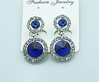Роскошные синие серьги оптом. Женская коллекция серёжек оптом. 499