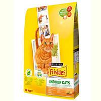Корм ФРИСКИС FRISKIES для кошек INDOOR садовой травой для домашних кошек на развес 1 кг