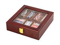 """Игра настольная """"Покер 100 фишек"""" 22х21х6 см. в деревянной коробке"""