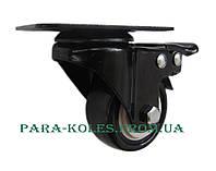 Мебельный ролик Ø 40 мм на поворотном кронштейне с тормозом.