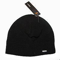 Зимняя шапка Mohikan. Шерсть. Двойная. Внутри флис. Черная с рубчиком внизу.