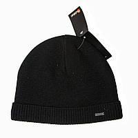 Зимняя шапка Mohikan. Шерсть. Двойная. Внутри флис. Черная с рубчиком внизу. С подворотом