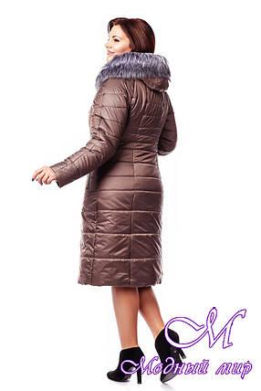 Женский зимний бежевый пуховик большого размера (р. 48-62) Тон 17, фото 2