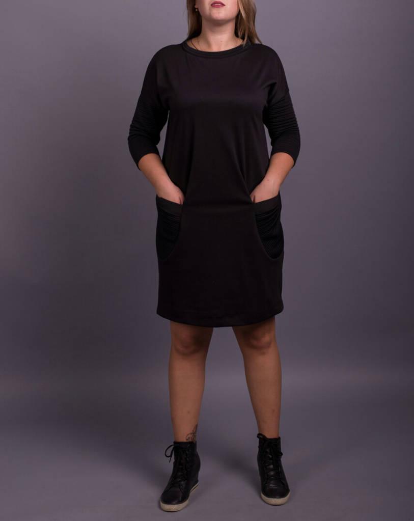 """Стильное черное женское платье """"Найна"""" для полных девушек"""