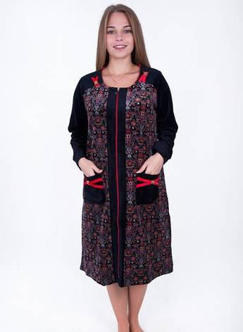 Женский велюровый халат Восточный арнамент, фото 2