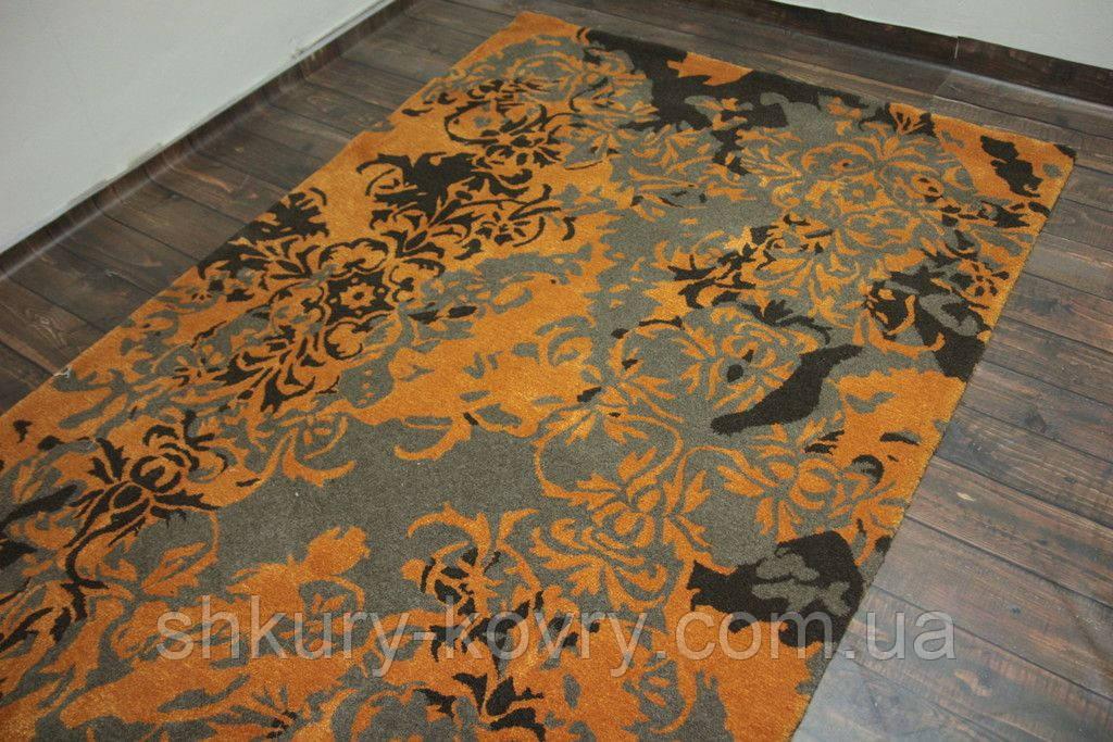 Чорно сіро помаранчевих дизайнерський килим шерстяний