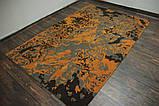 Чорно сіро помаранчевих дизайнерський килим шерстяний, фото 2