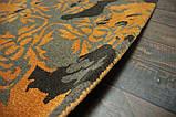 Чорно сіро помаранчевих дизайнерський килим шерстяний, фото 5