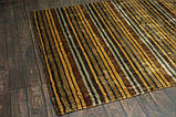 Дизайнерський віскозний килим в помаранчеву сіру і коричневу смужку, фото 2