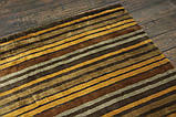 Дизайнерський віскозний килим в помаранчеву сіру і коричневу смужку, фото 3