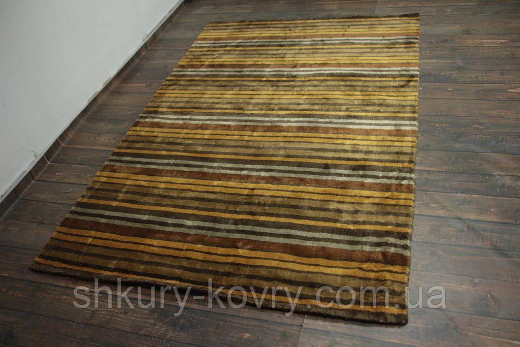 Дизайнерський віскозний килим в помаранчеву сіру і коричневу смужку