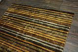 Дизайнерський віскозний килим в помаранчеву сіру і коричневу смужку, фото 5
