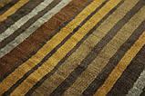 Дизайнерський віскозний килим в помаранчеву сіру і коричневу смужку, фото 7