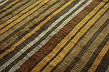 Дизайнерський віскозний килим в помаранчеву сіру і коричневу смужку, фото 9