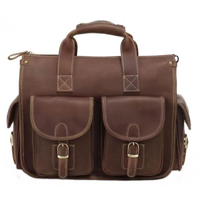 Кожаный портфель-сумка TIDING BAG 7106R коричневый