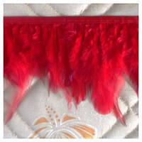 Тесьма из перьев петуха, красная