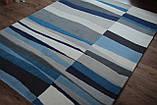 Сучасний вовняний килим з сіро-блакитним малюнком, фото 2