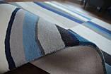 Сучасний вовняний килим з сіро-блакитним малюнком, фото 4