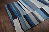 Сучасний вовняний килим з сіро-блакитним малюнком, фото 5