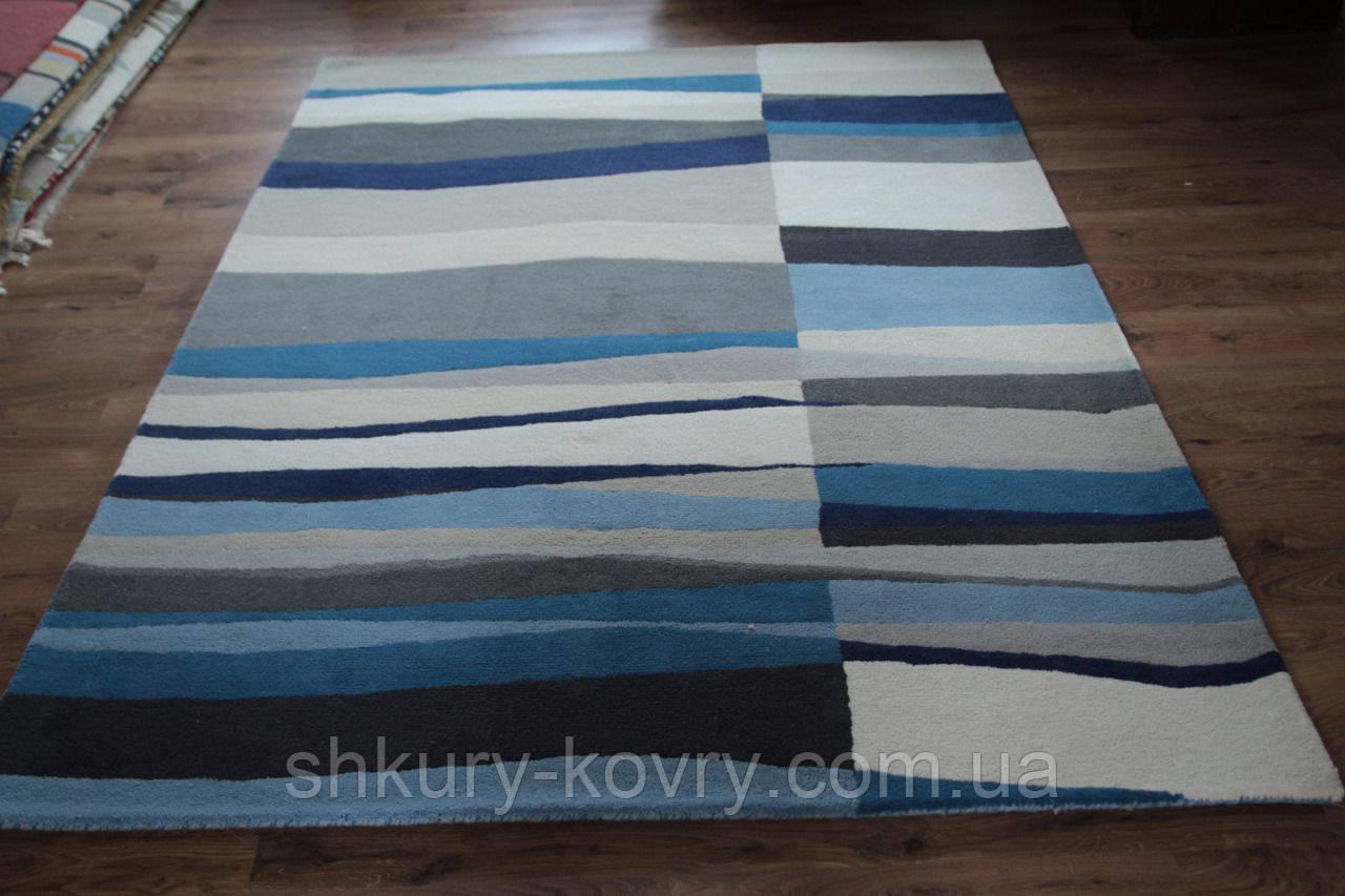 Сучасний вовняний килим з сіро-блакитним малюнком
