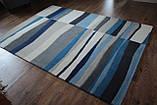 Сучасний вовняний килим з сіро-блакитним малюнком, фото 3