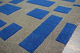 Необычный дизайнерский ковер абстракция синие прямоугольники на сером фоне, фото 3