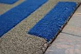 Необычный дизайнерский ковер абстракция синие прямоугольники на сером фоне, фото 4